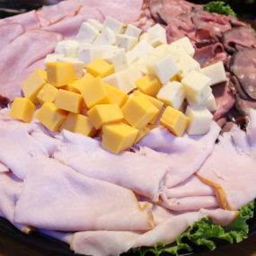 Deli catering tray with Smoked Turkey, Black Forest Ham, & Roast Beef with Cheddar, Swiss, Pepper Jack