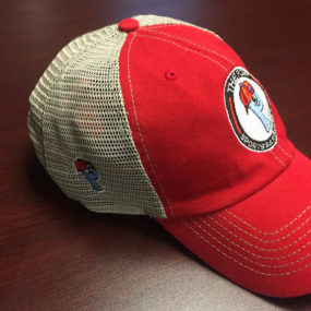 47 Brand red and white mesh hat with The Post Sports Bar & Grill logo no front. Adjustable snapback back
