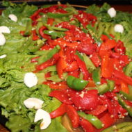 Roasted Pepper Catering tray with fresh mozzarella