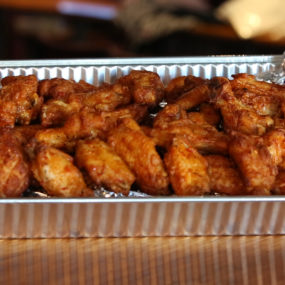 Chicken wing appetizer catering tray w/ranch on the side