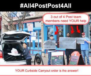 The Post Sports Bar & Grill Out of Work Employees illustrating how our Curbside Carryout and Delivery Promotion Benefits them amidst the COVID-19 crisis